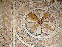 Detail from the mosaic floor of the Byzantine church of in Masada. The  monastic community lived here in the 5th7th centuries.