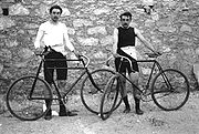 Between them, Frenchmen Léon Flameng (left) and Paul Masson won four cycling events.