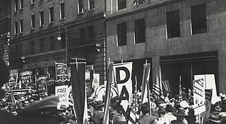 Communist Party USA - May Day parade with banners and flags, New York