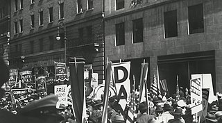 May Day parade with banners and flags, New York