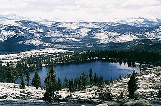 Merced River - May Lake, located at the headwaters of Snow Creek, is one of many lakes that feed the Merced River
