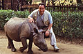 Me with an Indian Rhino (Rhinoceros unicornis) young orphan reared by the guards ... (19922108373).jpg
