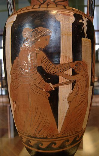 Ancient Greek literature - Medea kills her son (a scene from Euripides's Medea), Campanian red-figure amphora, c. 330 BC, Louvre (K 300)