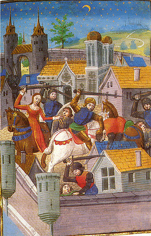 Women warriors in literature and culture - Medieval women helping to defend the city from attack.