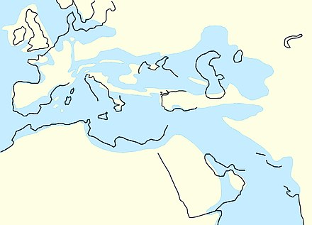 The North Sea between 34 million years ago and 28 million years ago, as Central Europe became dry land Mediterranean Rupelian.jpg