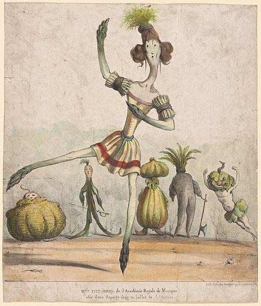 Melle. Fitz-James, de l'Académie royale de musique, rôle d'une asperge dans un ballet de légumes (NYPL b12148322-5234618)