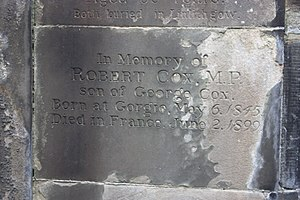 Robert Cox (politician) - Memorial to Robert Cox MP, St Cuthbert's Churchyard, Edinburgh