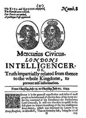 Mercurius Civicus - Front cover of Mercius Civius No. 8, 13–20 July 1643.
