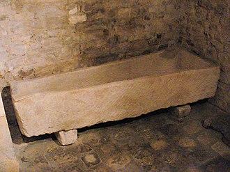 Aytré - Merovingian sarcophagus from Aytré cemetery, Orbigny-Bernon Museum.
