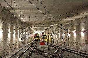 Parc (Charleroi Metro) - Image: Metro Charleroi Parc station tailtrack