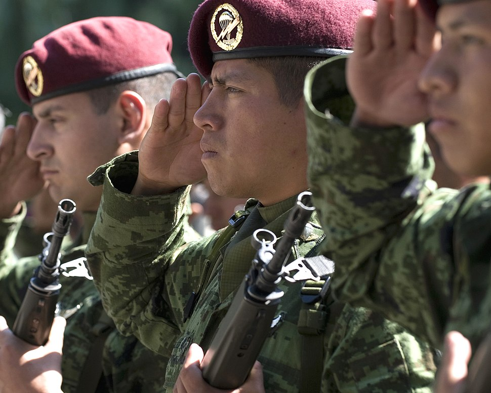 Mexican soldiers at ceremony honoring 201st Fighter Squadron 3-6-09