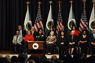 Main Interior Building - Image: Michelle Obama at Dept. of the Interior 2 9 09 3
