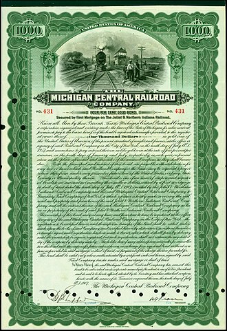 Michigan Central Railroad - Gold Bond of the Michigan Central Railroad Company, issued 10. July 1907