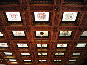 Michigan State Capitol - Tiled ceiling bearing each state's coat of arms