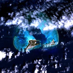 Midway Atoll - NASA NLT Landsat 7 (Visible Color) Satellite Image
