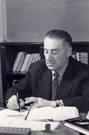 Mihai Ralea - Ralea at his desk, photographed c. 1960