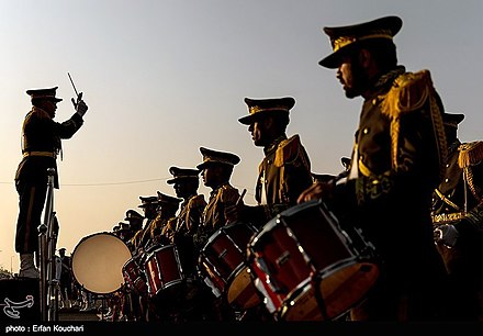 An Iranian military band during Army Day celebrations. Military Parade Held in Tehran to Mark National Army Day 09.jpg