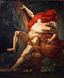 tableau représentant un homme nu avec un manteau rouge, dévoré par un lion