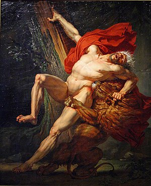 Milo of Croton - Milo of Croton, Attempting to Test His Strength, Is Caught and Devoured by a Lion by Charles Meynier (1795). In art of this period he is often depicted being killed by a lion rather than wolves.