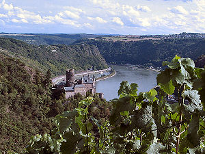 Environmental impact of wind power - Loreley rock in Rhineland-Palatinate, part of UNESCO World heritage site Rhine Gorge