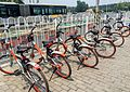 Mobikes outside the exit C of Wenyanglu Station (20170618114514).jpg