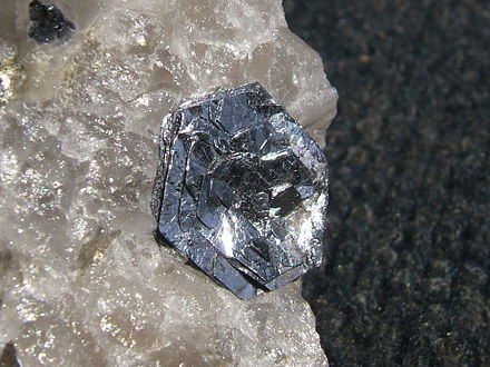 Molybdenite on quartz Molly Hill molybdenite.JPG