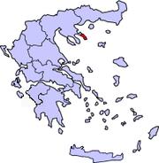 En rouge, le territoire de la république monastique du Mont Athos sur une carte de la Grèce