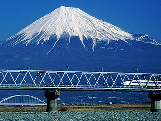 Fuji, Shizuoka - Fujikawa Bridge of Tōkaidō Shinkansen (JR Central) over Fuji River and Mount Fuji