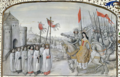Ms 659 f.195. Queen Isabella (1292-1358) of France and her son Edward III (1312-77) are welcomed in Oxford in 1326.png