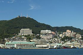 View of Mount Inasa from Nagasaki Harbor.