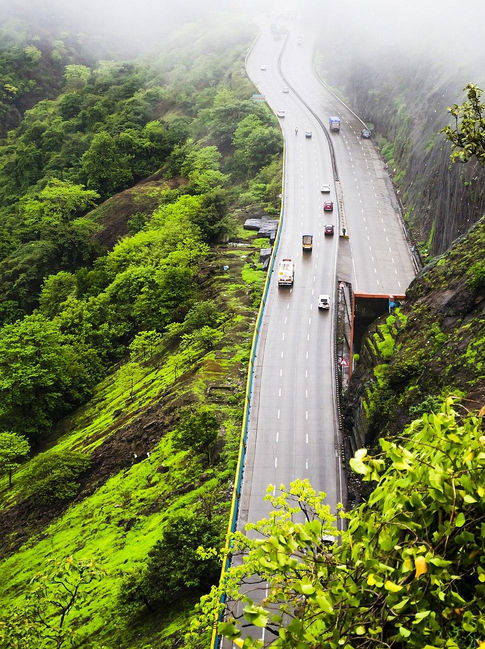 Mumbai-Pune Expressway from Rajmachi Garden, Khandala
