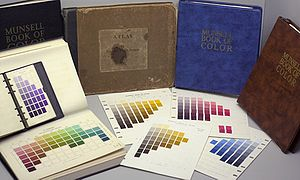 Munsell color system - Several editions of the Munsell Book of Color. The atlas is arranged into removable pages of color swatches of varying value and chroma for each of 40 particular hues.