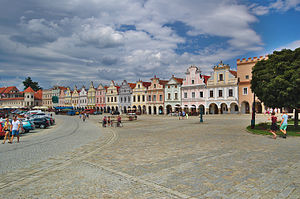 Telč - The main square in Telč, with the famous 16th-century houses