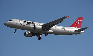 Northwest Airlines Flight 188 - A Northwest Airbus A320 similar to the one used for Flight 188