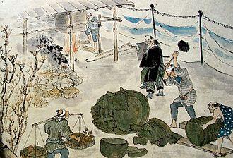 Haibutsu kishaku - Temple bells being smelted for bronze during the haibutsu kishaku