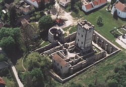 Aerial photography of the castle of Nagyvázsony