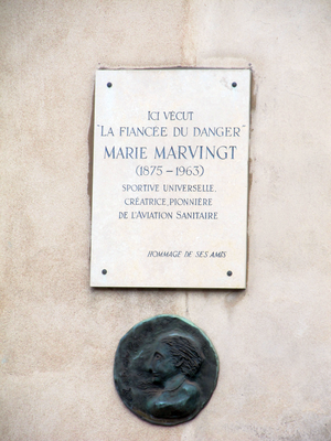 Marie Marvingt - A commemorative plaque in Nancy