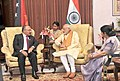 Narendra Modi meeting the Prime Minister of Papua New Guinea, Mr. Peter O'Neill, in Jaipur on August 21, 2015. The Union Minister for External Affairs and Overseas Indian Affairs, Smt. Sushma Swaraj is also seen.jpg