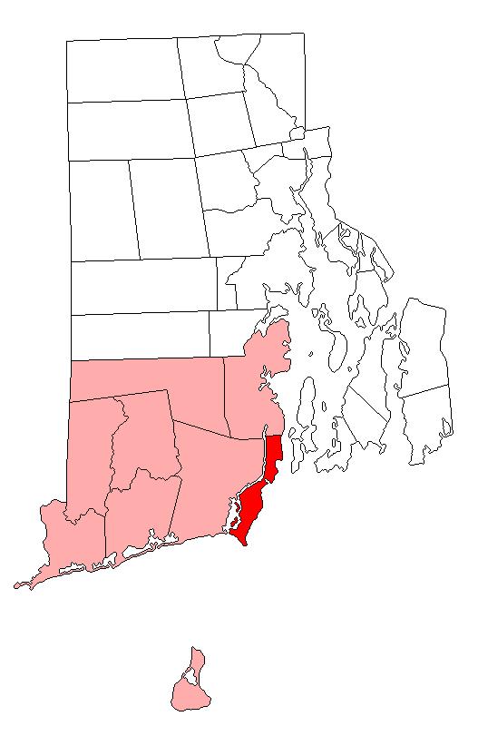 Location of Narragansett in Washington County, Rhode Island