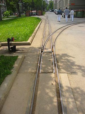 Geriatriezentrum Am Wienerwald Feldbahn - Track with turnout to pavilion