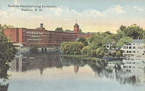 Nashua Manufacturing Company - Nashua Manufacturing Company and the Nashua River in 1909, still in its heyday.