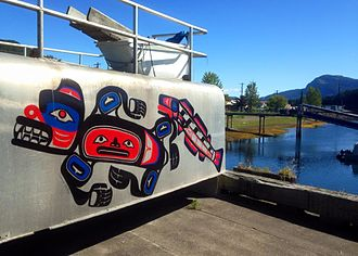 Hoonah, Alaska - Native art at the dock in Hoonah