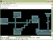 This screenshot shows NetHack for Windows, one of the many graphical interfaces that have been developed for NetHack. The tiled X11 interface for Unix/Linux machines is similar in appearance. The hero can be seen on the right-hand side engaged in combat with a goblin.