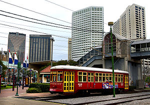 Riverfront Streetcar Line - A 457 Series Perley Thomas replica streetcar operating on the Riverfront line