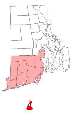 Location of New Shoreham in Washington County, Rhode Island