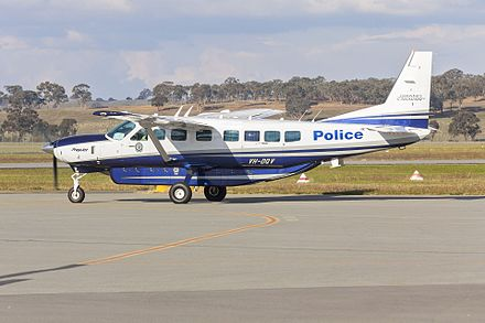 Cessna Grand Caravan EX 208B POLAIR 8 New South Wales Police Force (VH-DQV) Cessna Grand Caravan 208B EX taxiing at Wagga Wagga Airport.jpg