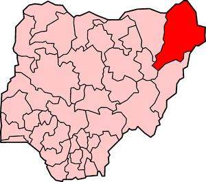 Mala Kachalla - Location of Borno State in Nigeria