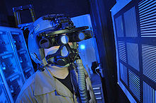a us airman tests panoramic night vision goggles in march 2006