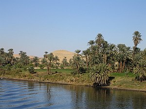 View of the Nile from a cruiseboat, between Lu...