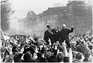 Kurt Georg Kiesinger - President Nixon and Chancellor Kurt Kiesinger waving to the crowd in West Berlin.